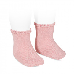 Short socks with openworked cuff PALE PINK