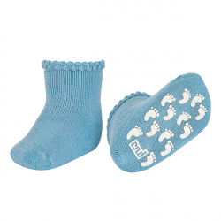 Baby non-slip terry socks with patternedcuff CLOUD