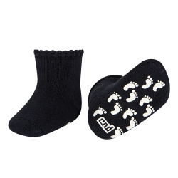Baby non-slip terry socks with patternedcuff NAVY BLUE