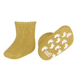 Baby non-slip terry socks with patternedcuff MUSTARD