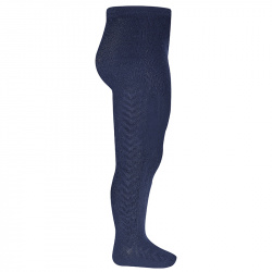 Side patterned tights NAVY BLUE