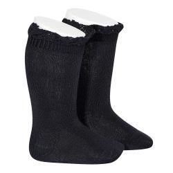 Chaussettes hautes unies avec dentelle sur bordure BLEU MARINE