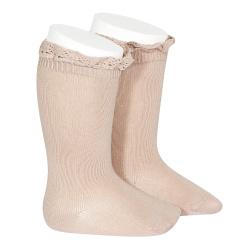 Chaussettes hautes unies avec dentelle sur bordure VIEUX ROSE