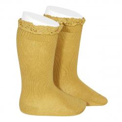 Chaussettes hautes unies avec dentelle sur bordure MOUTARDE