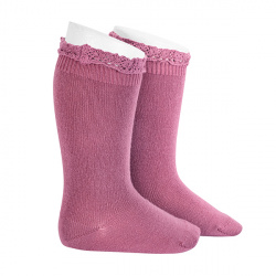 Knee socks with lace edging socks CASSIS