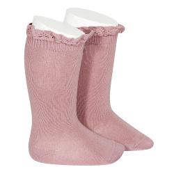 Chaussettes hautes unies avec dentelle sur bordure TAMARIS