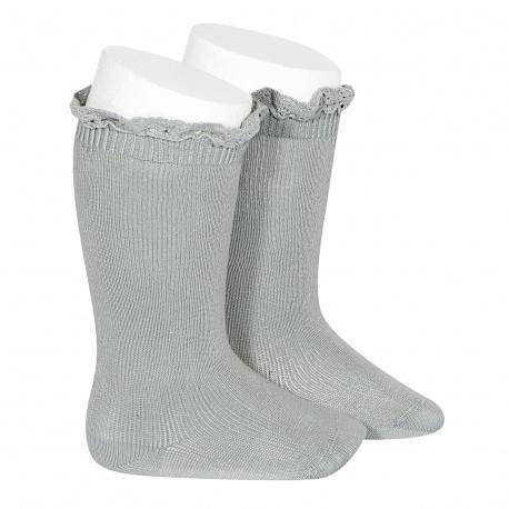 Calcetines altos punto liso con puntilla en puño VERDE SECO