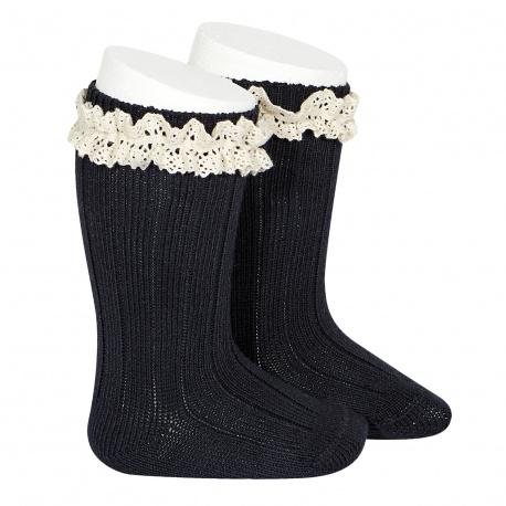 Calcetines altos canalé con puntilla vintage MARINO