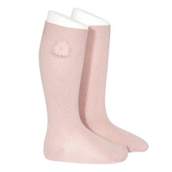 Knee-high socks with faux fur pompom PALE PINK