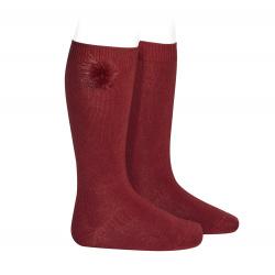 Chaussettes hautes avec faux fur pompom BOURGOGNE