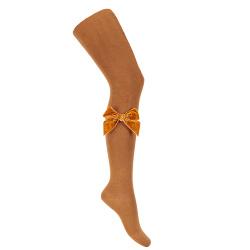 Side velvet bow tights CINNAMON
