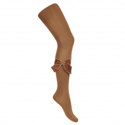 Side velvet bow tights TOFFEE