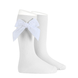 Side velvet bow knee-high socks WHITE