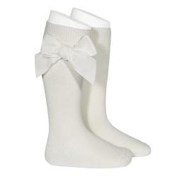 Side velvet bow knee-high socks BEIGE