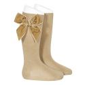 Side velvet bow knee-high socks ROPE