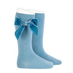Chaussettes hautes avec noeud latéral velours NUAGE