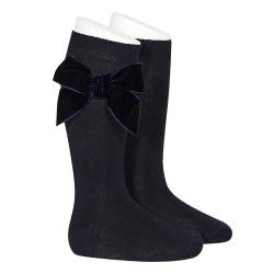 Side velvet bow knee-high socks NAVY BLUE