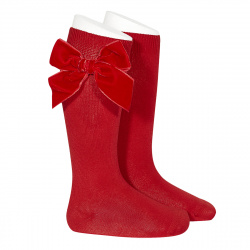 Side velvet bow knee-high socks RED
