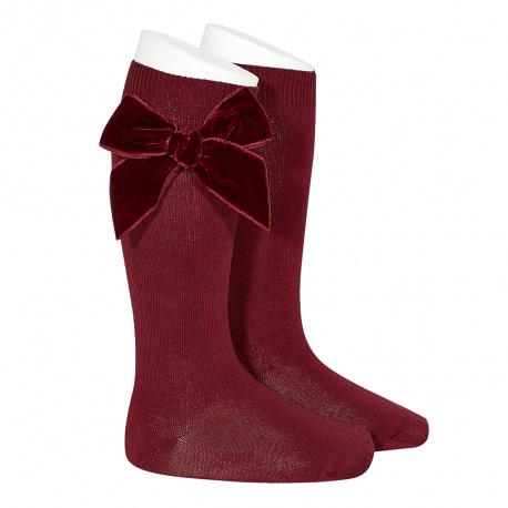 Side velvet bow knee-high socks GARNET
