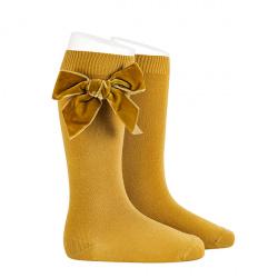 Side velvet bow knee-high socks MUSTARD