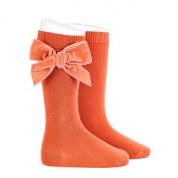 Side velvet bow knee-high socks MANI