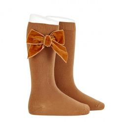 Side velvet bow knee-high socks CINNAMON