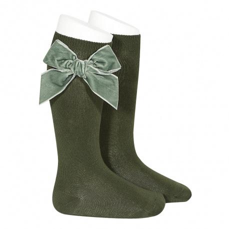 Side velvet bow knee-high socks AMAZONIA