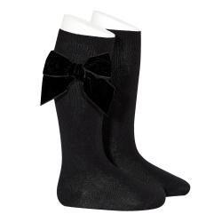Chaussettes hautes avec noeud latéral velours NOIR