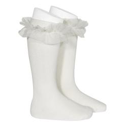 Calcetines altos punto liso con tira tul fruncido NATA