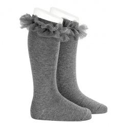 Calcetines altos punto liso con tira tul fruncido GRIS CLARO