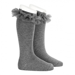 Tulle ruffle knee-high socks LIGHT GREY