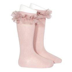 Chaussettes hautes avec tulle froncé PALE ROSE