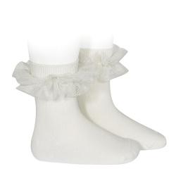 Tulle ruffle short socks CREAM