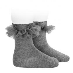 Chaussettes courtes avec tulle plissé GRIS CLAIR