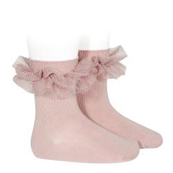 Chaussettes courtes avec tulle plissé PALE ROSE