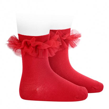 Tulle ruffle short socks RED