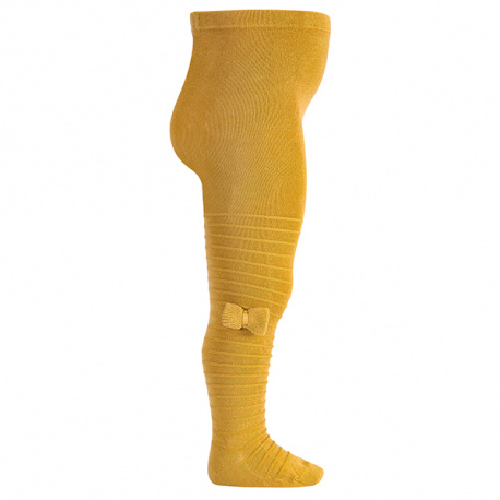 Tights with knitted bow MUSTARD