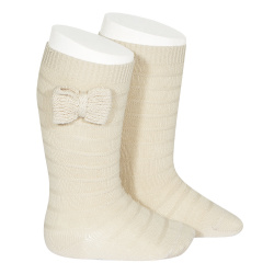 Knee-high socks with knitted bow LINEN