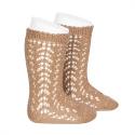 Cotton openwork knee-high socks CAMEL