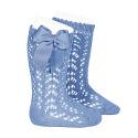 Cotton openwork knee-high socks with bow BLUISH