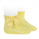 Cotton openwork short socks with bow LIMONCELLO
