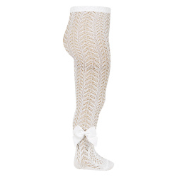 Openwork perle tights with side grossgrain bow CREAM