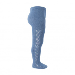 Side openwork warm tights FRENCH BLUE