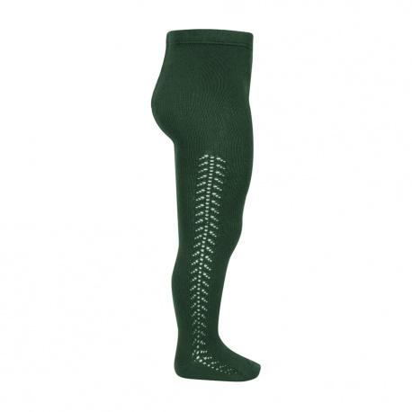Side openwork warm tights BOTTLE GREEN