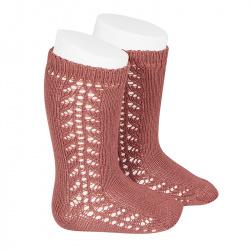 Side openwork knee-high warm-cotton socks TERRACOTA
