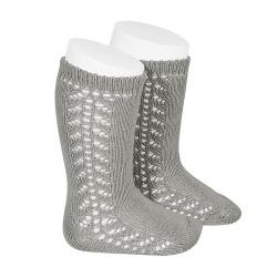 Side openwork knee-high warm-cotton socks ALUMINIUM