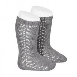 Chaussettes hautes chaudes ajourée lateral GRIS CLAIR