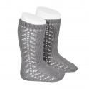 Side openwork knee-high warm-cotton socks LIGHT GREY