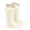 Side openwork knee-high warm-cotton socks BEIGE