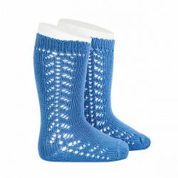 Side openwork knee-high warm-cotton socks FRENCH BLUE